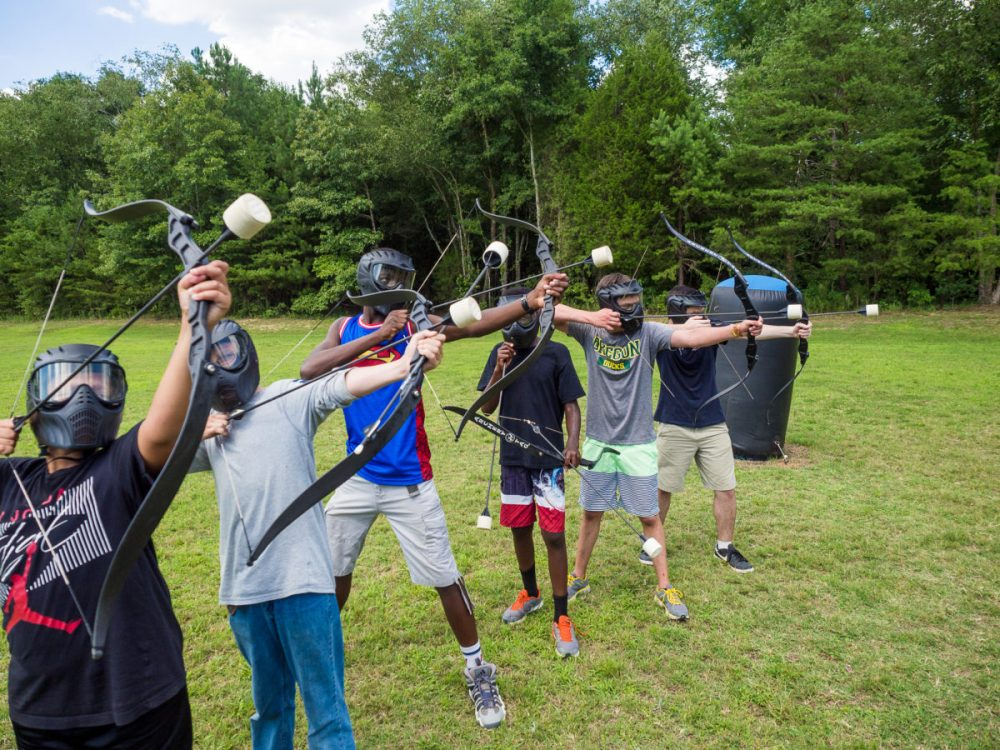 Fun game of archery tag shooting bows and arrows